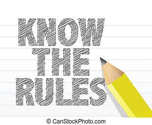 規則, メモ用紙, 書かれた, ペーパー, 知りなさい, ブランク