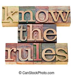 規則, 知りなさい