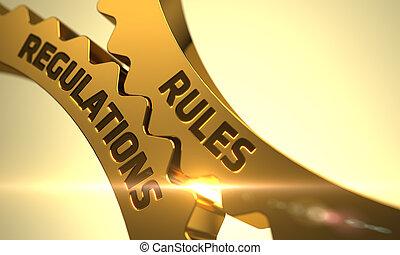 規則, 規章, concept., 黃金, 小船, gears., 3d.