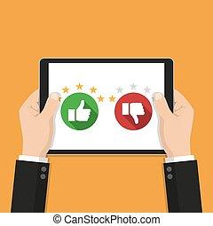 規定值, 上, 顧客服務, illustration., 網站, 規定值, 反饋, 以及, 回顧, 概念