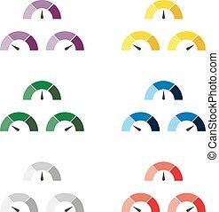 規定值, 矢量, 集合, 米,  Multicolor,  infographic, 量規, 插圖, 簽署, 里程計, 或者, 元素