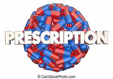 規定藥, 藥物處理, 藥丸, 膠囊, 球, 3d, 插圖