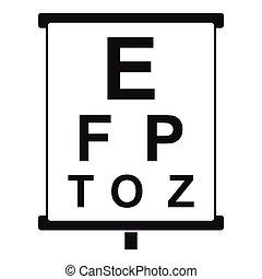 視力, 信件, 測試, 招貼, 白色, 圖象
