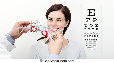 視力, 女, フレーム, チャート, 裁判, ビジュアル, 測定, テスト, 微笑, 白