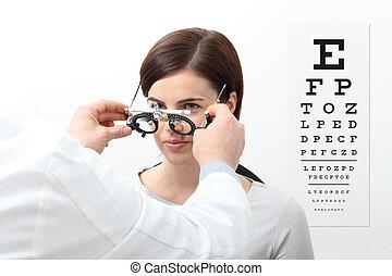 視力, 女, フレーム, チャート, 裁判, ビジュアル, 測定, テスト, 白