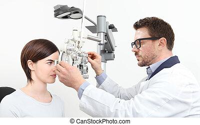 視力, 女, 患者, 隔離された, 光学, phoropter, 測定, 検眼士, 白