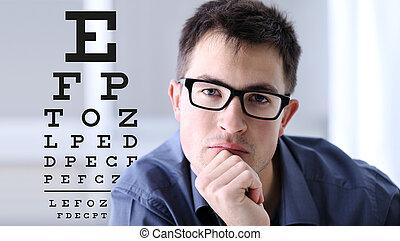 視力, 眼鏡, 目 図表, 顔, 背景, 眼科学, 概念, 検査, テスト, マレ