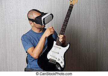 視聴者, 若い, 現実, ギター, 成人, 使うこと, 家, 遊び, augmented