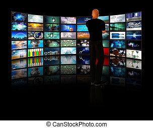 視聴, ビデオ, ディスプレイ, 人