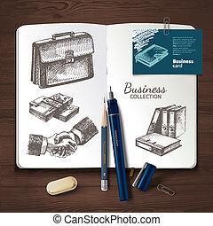視覚化, ブランド, 木製である, セット, アイデンティティー, ベクトル, バックグラウンド。