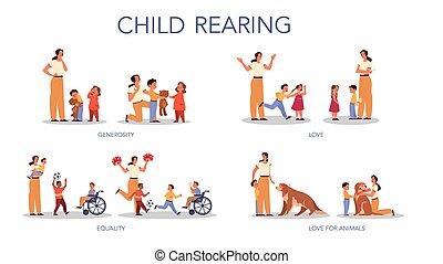 親であること, 家族, 影響, set., 子供, 後ろ足で立つ, 概念, 子供