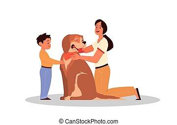 親であること, concept., 子供, 教えなさい, 息子, 女, animals., 後ろ足で立つ, 彼女, 愛