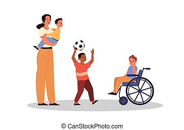 親であること, concept., 教えなさい, 息子, 女, 後ろ足で立つ, 彼女, equality., 子供