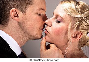 親吻, 夫婦, 婚禮, 年輕, 穿戴