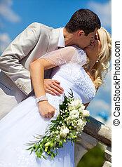 親吻, 夫婦, 年輕, 婚禮