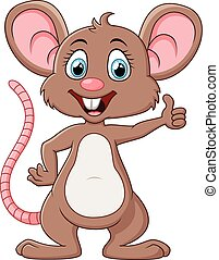 親指, かわいい, マウス, の上, 漫画