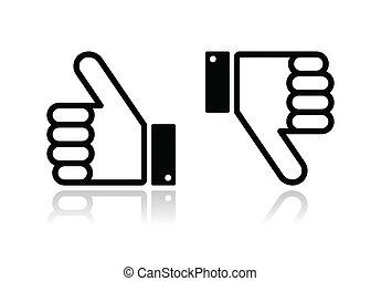 親指, -, の上, soci, 下方に, 黒, アイコン