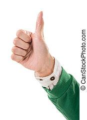 親指, ジェスチャー, の上