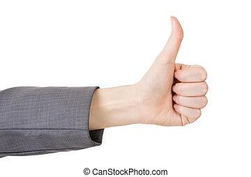 親指, ビジネス, 女性, の上, 手ジェスチャー
