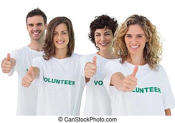 親指, ボランティア, グループ, 諦める
