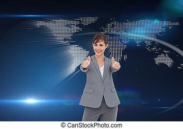 親指, 合成の イメージ, 微笑, 寄付, 女性実業家, の上