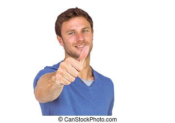 親指, 微笑, 寄付, 人, の上