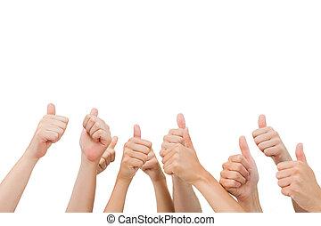 親指, 手, グループ, 諦める