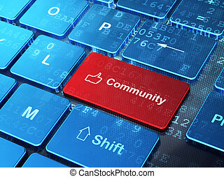 親指, 社会, の上, 共同体, コンピュータ, 背景, キーボード, concept:, ネットワーク