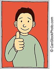 親指, 諦める, ベクトル, 微笑, 漫画, 子供