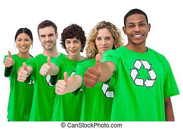 親指, activists, 環境, グループ, 微笑, 諦める