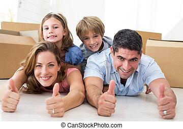 親指, hou, 新しい, 提示, の上, 家族