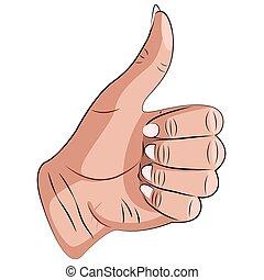 親指, vector., の上
