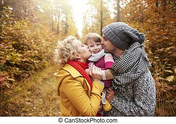 親, うれしい, 娘, 現場, 接吻
