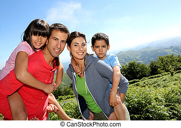 親, そして, 子供, 地位, 中に, 自然, 風景