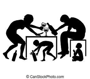 親, アルコール中毒患者