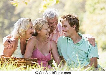 親, ピクニック, 大人の 子供