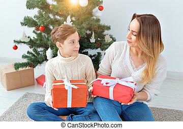 親, ホリデー, 概念, 祝う, -, イブ, 肖像画, 単一, クリスマス, 母, 家
