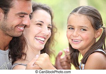 親, 娘, 笑い, ∥(彼・それ)ら∥
