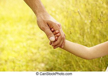 親, 手掛かり, 子供, 手, 小さい
