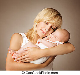 親, 母, 手, 睡眠, 新生, 睡眠, お母さん, 子供, 子供, 赤ん坊, 幸せ