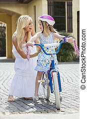 親, &, 母, 自転車, 子供, 乗馬, 女の子