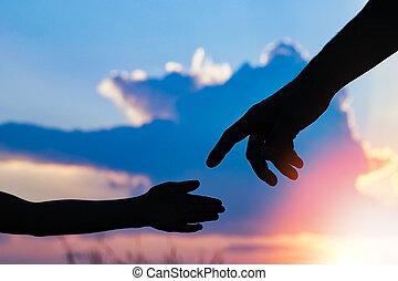 親, 自然, シルエット, 子供, 手