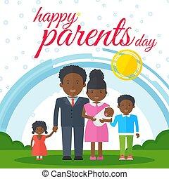 親, 黒, 日, 幸せ