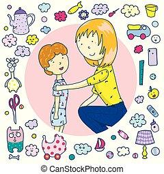 親, support., 概念, emoji., 彼女, アイコン, 世帯, イラスト, おもちゃ, 話し, ベクトル, son., お母さん, 項目