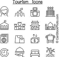 観光事業, アイコン, セット, 中に, 薄いライン, スタイル