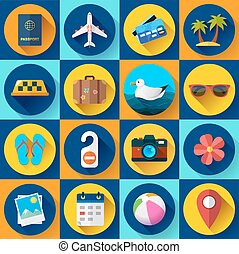 観光事業, スタイル, set., 平ら, 旅行, アイコン, 設計された