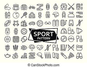 観光事業, レクリエーション, 作られた, 屋外, いかだで運ぶこと, ハイキング, equipment., icons., スポーツ, 背景, フィットネス, 線, カヤックを漕ぐ