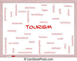 観光事業, 概念, 単語, 雲, whiteboard