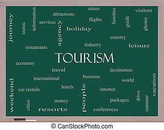 観光事業, 黒板, 概念, 単語, 雲