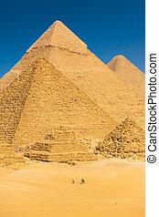 観光客, らくだ, エジプト, ギザ, 基盤, ピラミッド, 乗馬